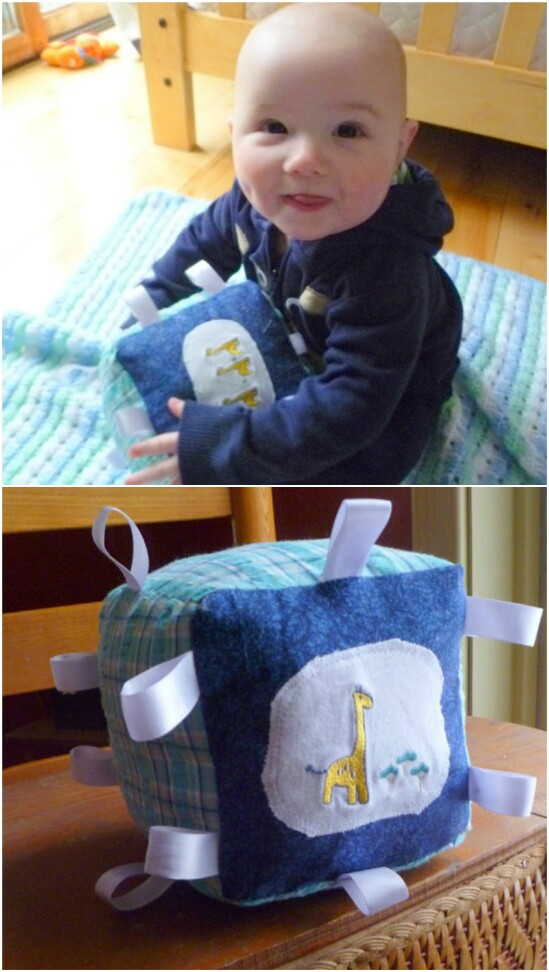 Baby Clothing Ribbon Block - 20 Adorably Creative Upcycling Projects To Repurpose Old Baby Clothes