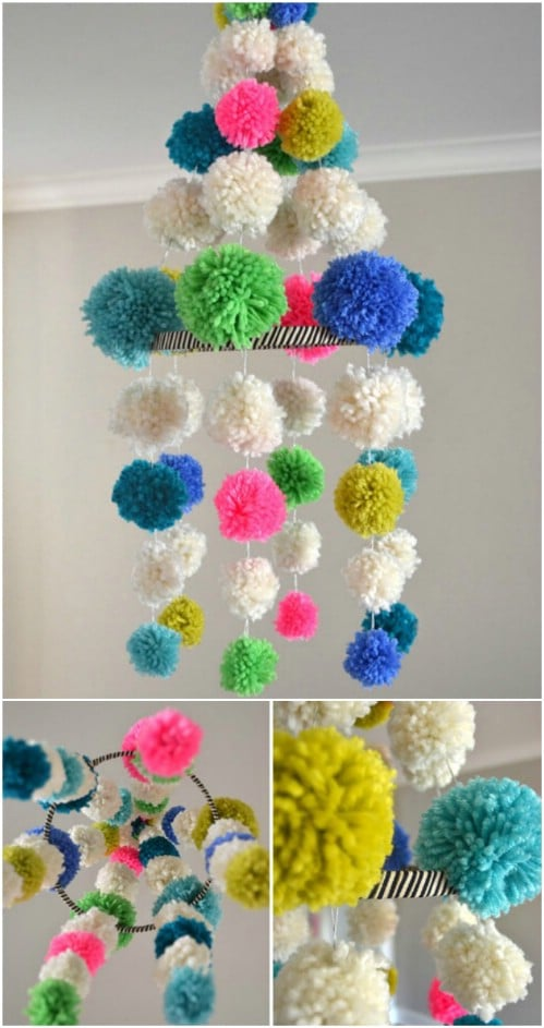 DIY Pom Pom Chandelier Mobile