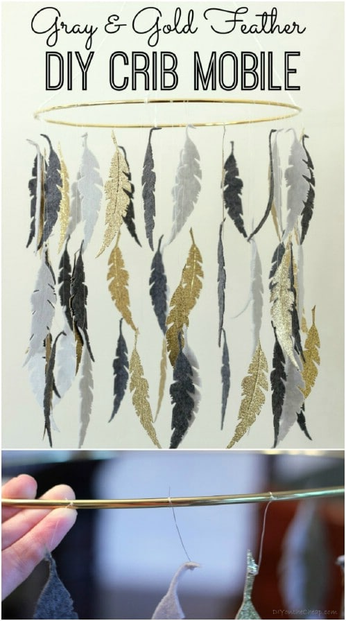 Gray And Gold Feather Crib Mobile