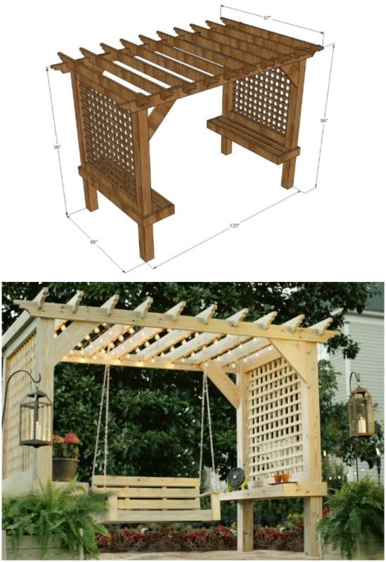 Wooden Hanging Porch Swing