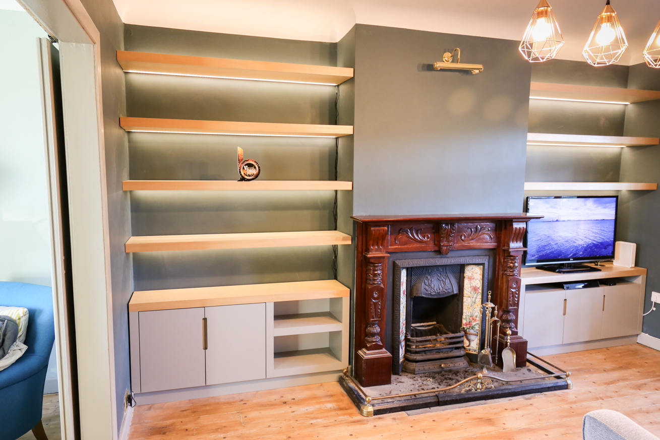 Before After Living Room Alcove Shelving Diy Newb Ie
