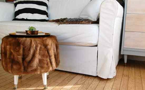 Turn a fur coat and a cable spool into an ottoman