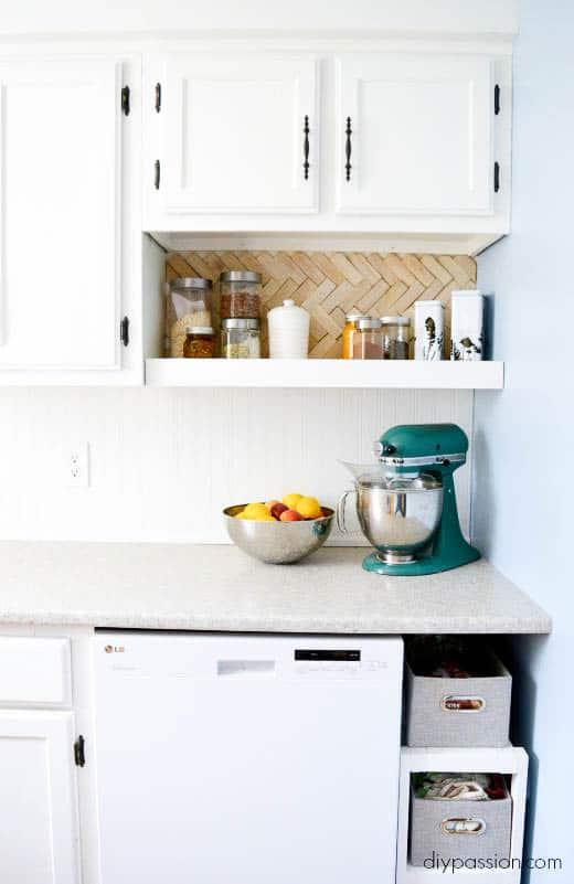 How we installed our bead board backsplash diy passion for Splash board kitchen