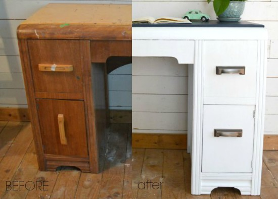 Vintage Painted Waterfall Desk Before and After