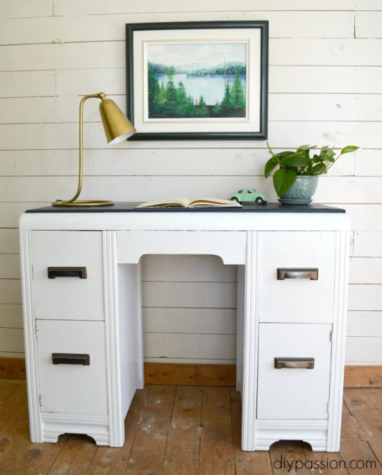 Vintage Painted Waterfall Desk
