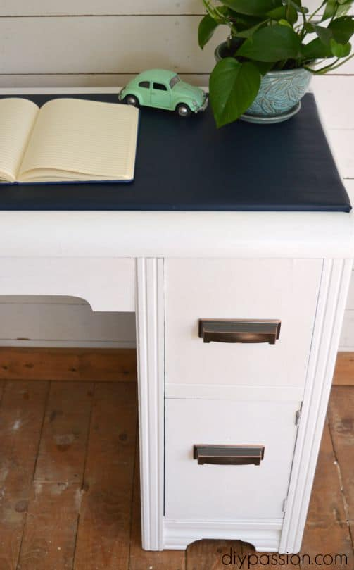Vintage Waterfall Desk in Navy and White
