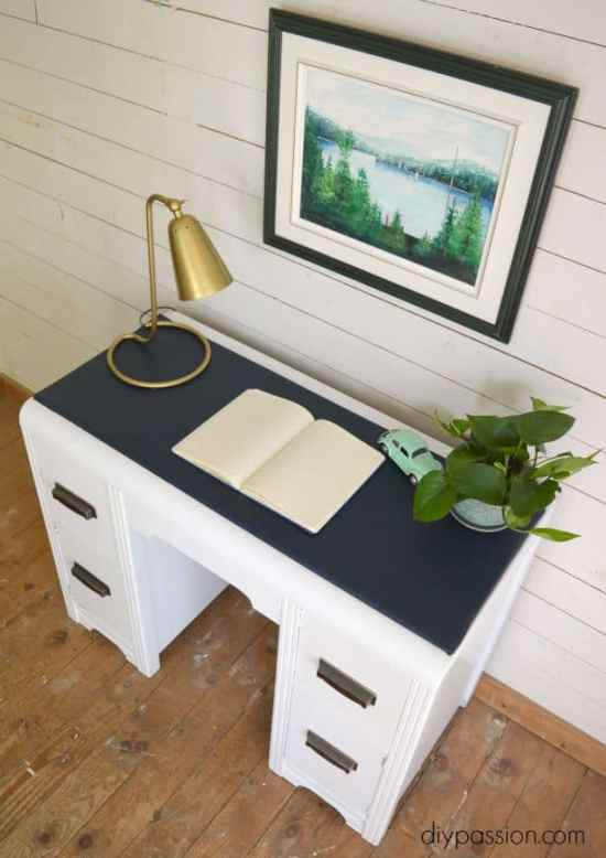 Vintage Waterfall Desk with Vinyl Top