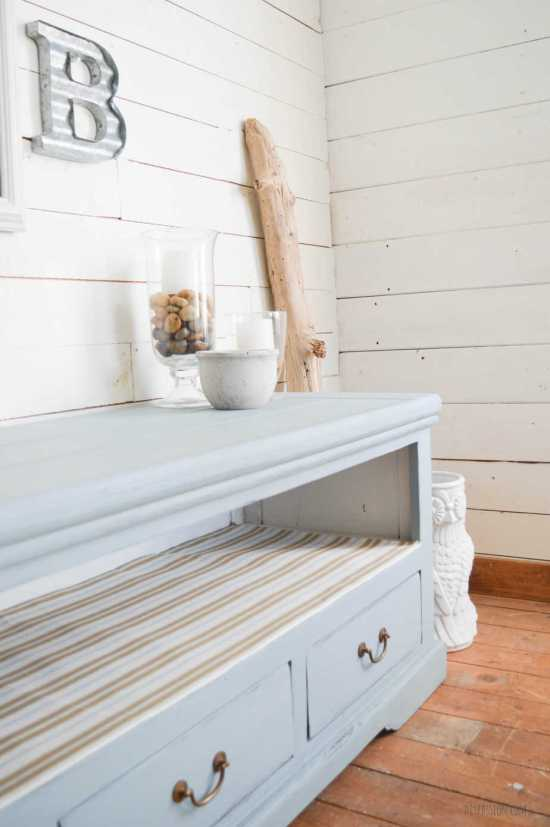 Beach Inspired Media Console with The FAT Paint Co. in Wedgewood Blue