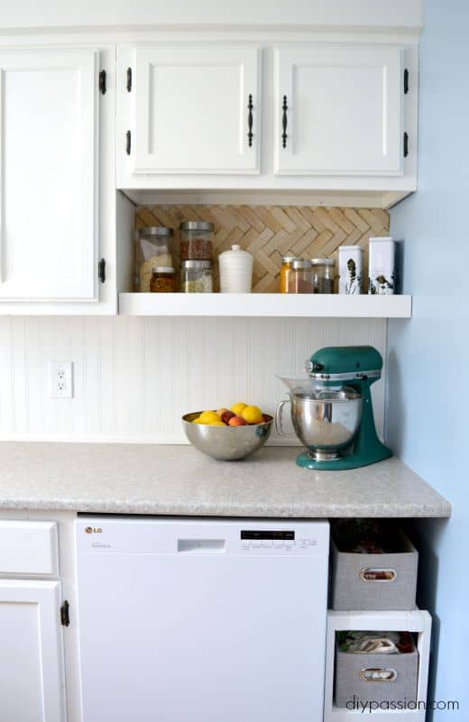 DIY Kitchen One Year Later - Herringbone Back splash still looks good!