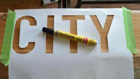 DIY Scrap Wood Sign City Stencil