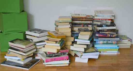 Decluttering Books with KonMari Donation Pile