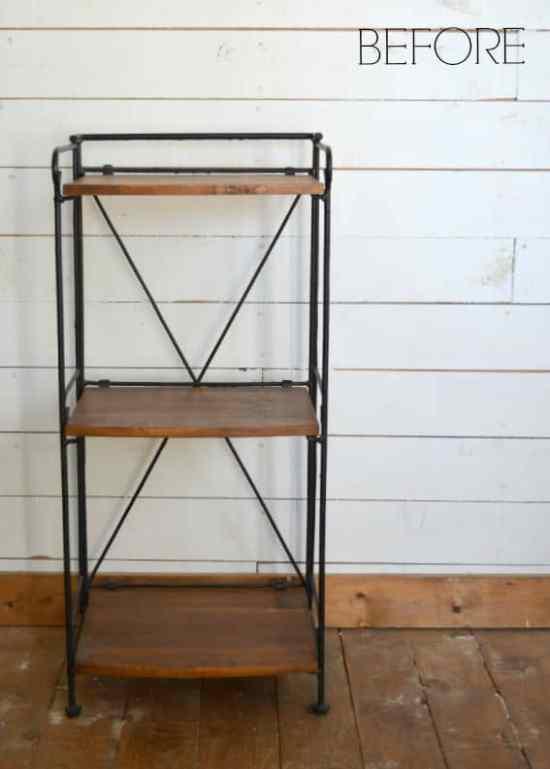 Patterned Wood Shelf BEFORE