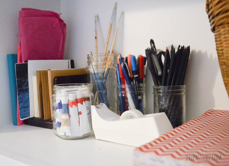 Decluttered Craft Supplies Organized with KonMari