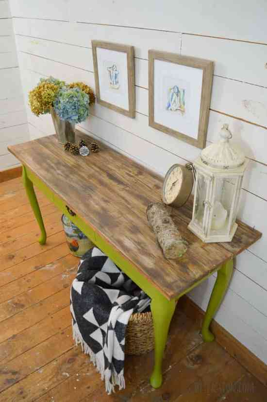 Harvest Console Table with DIY Reclaimed Wood Top from DIY Passion