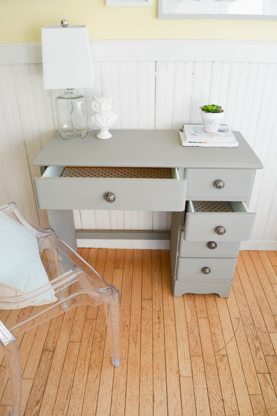 Desk Transformation with Grey, Mint and Polka Dots