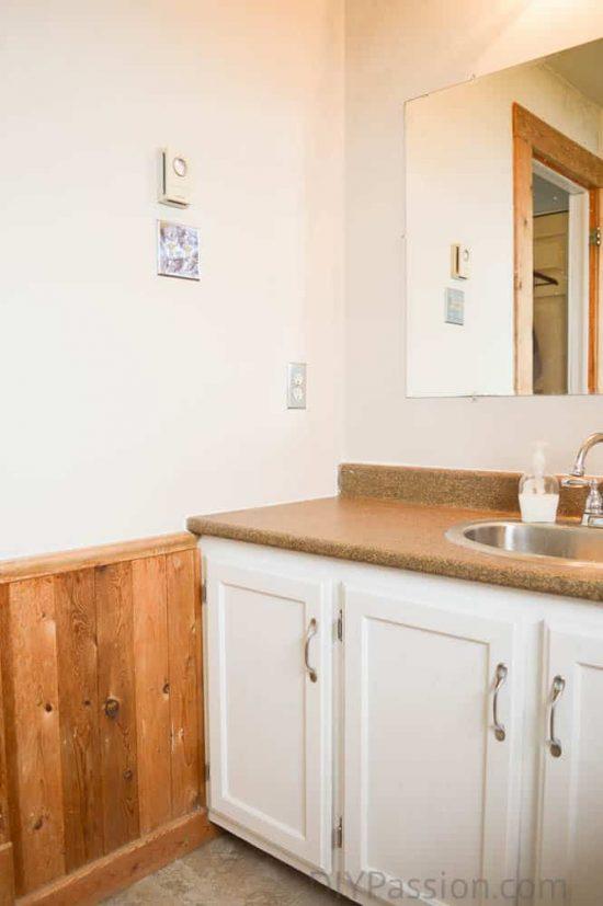 Master Bathroom Before Oak Wainscoting