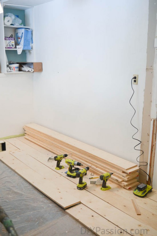 The first four rows of plank floor