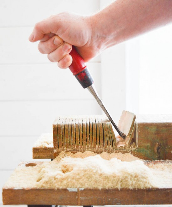 Use a circular saw to pull the notched bits out