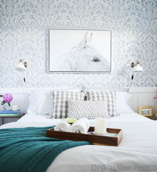 Wall Papered Guest Room