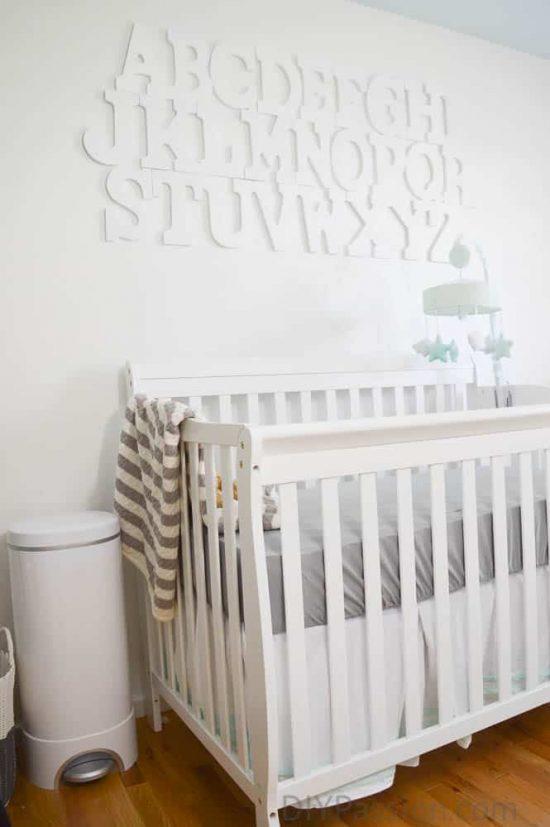 Gender Neutral Nursery with an Alphabet Wall