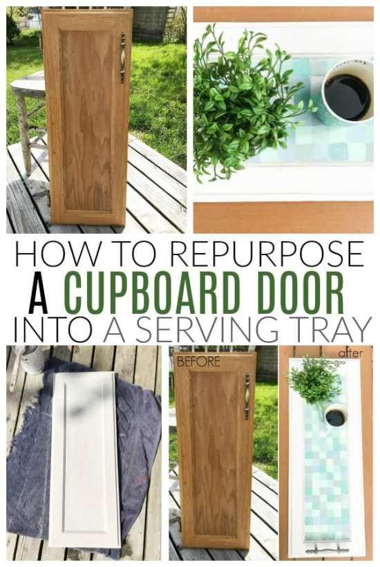 repurpose cupboard door into serving tray
