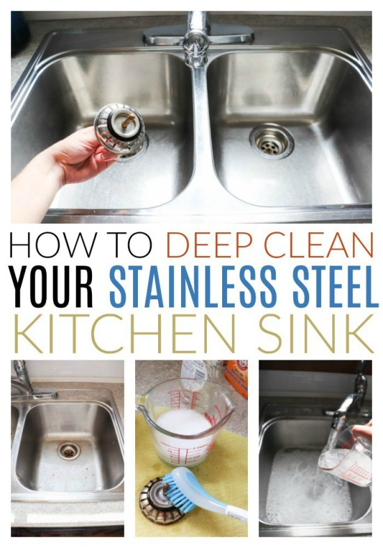 deep cleaning a stainless steel sink