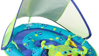 SwimWays Baby Spring Float Activity Center with Canopy, Blue/Green Octopus