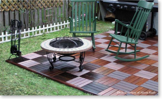 wooden patio deck tiles snap together