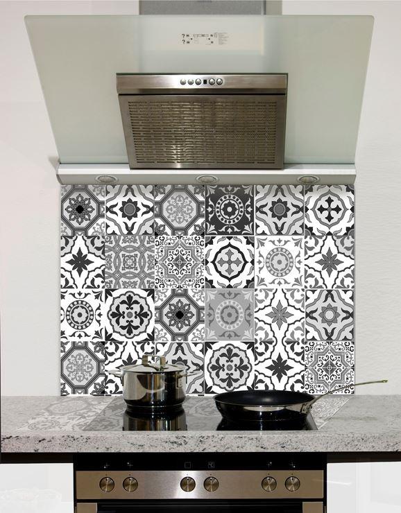 black and white moroccan tiles glass splashback standard size