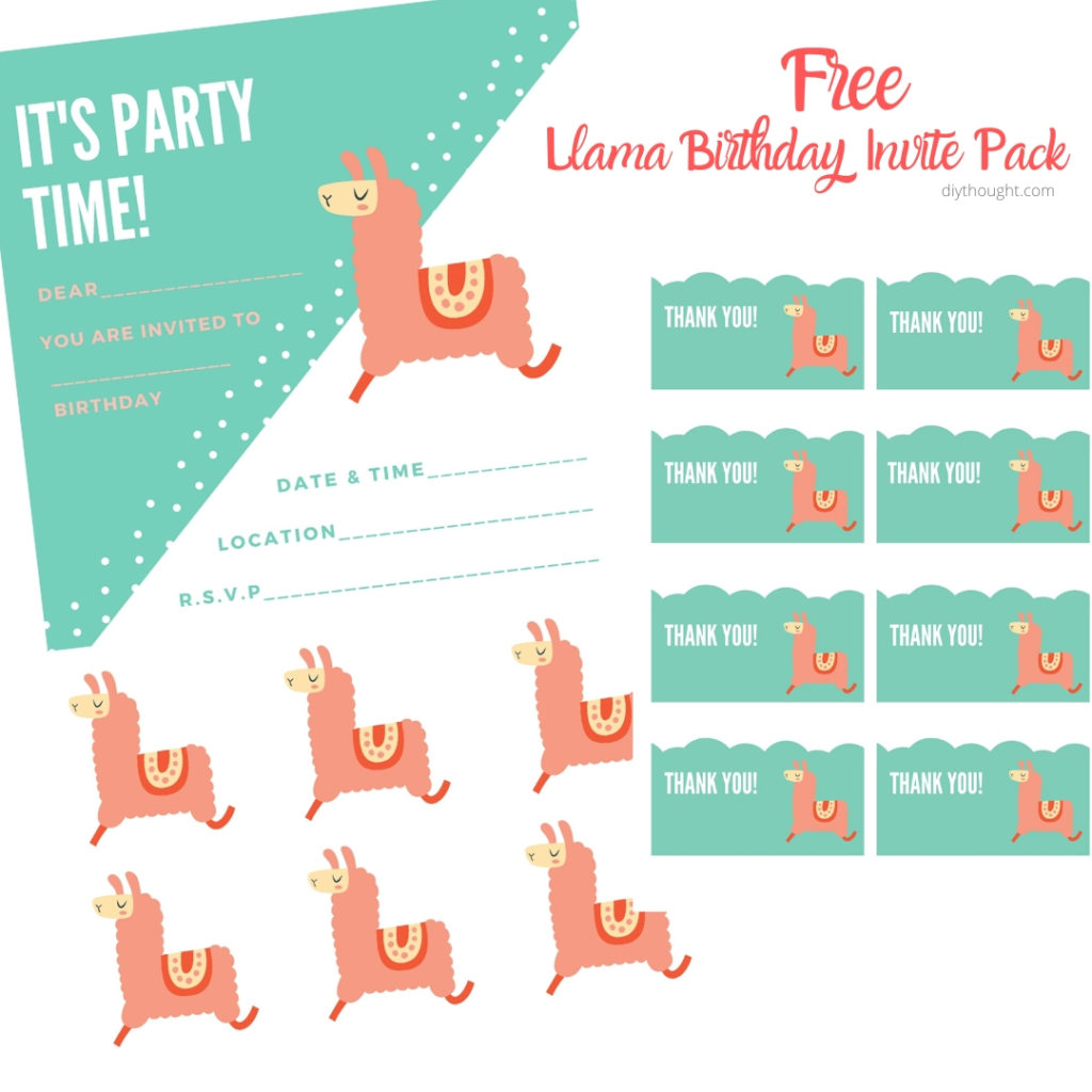 Free Llama Birthday Invite Printable Pack