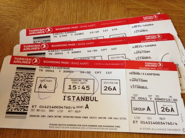 Cape Town to Istanbul Boarding Pass