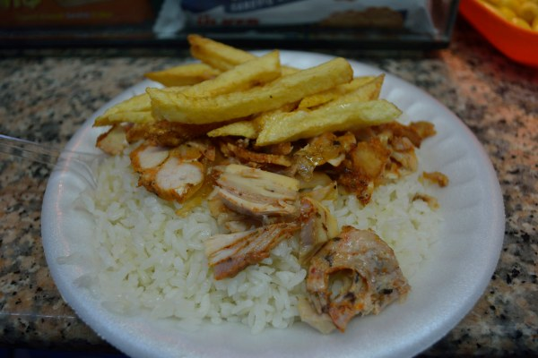 Nohutlu Pilavi, grilled chicken with peas, rice and fries
