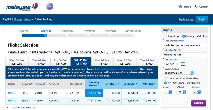 Malaysia Airlines fares are $311.00 USD for Kuala Lumpur (KUL) to Melborne (MEL)