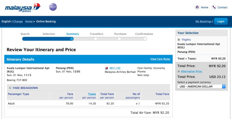 Malaysia Airlines actually charges $23.00, $2.00 less than Air Asia