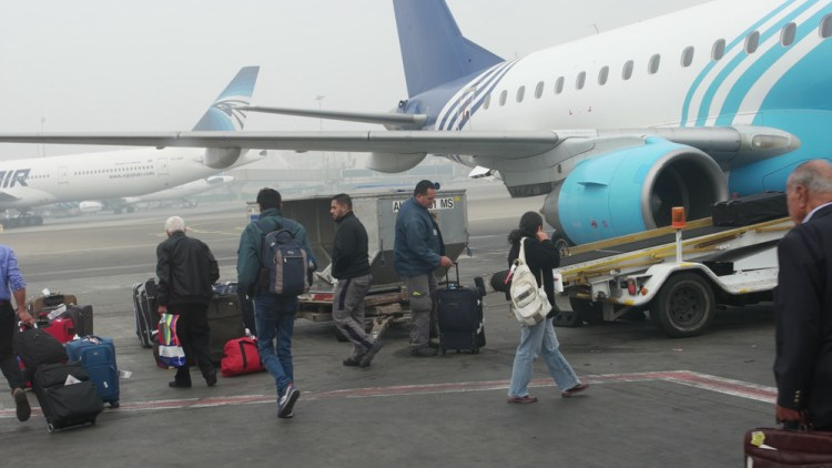 All passengers must identify their luggage before being loaded on to the small E-170