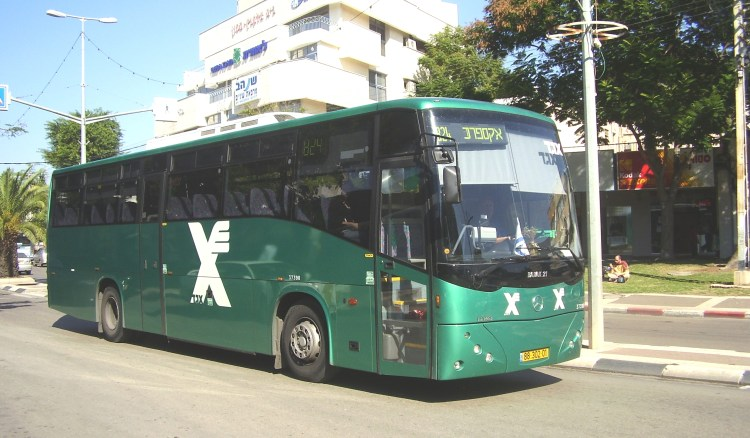 Green Public Buses Operated by Israel's National Bus Company Egged