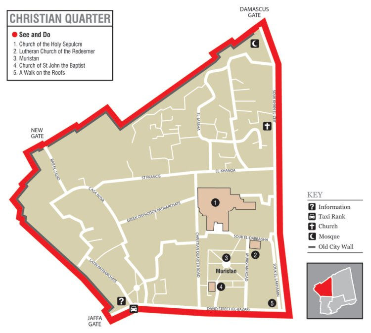 Old Jerusalem Map of Christian Quarter