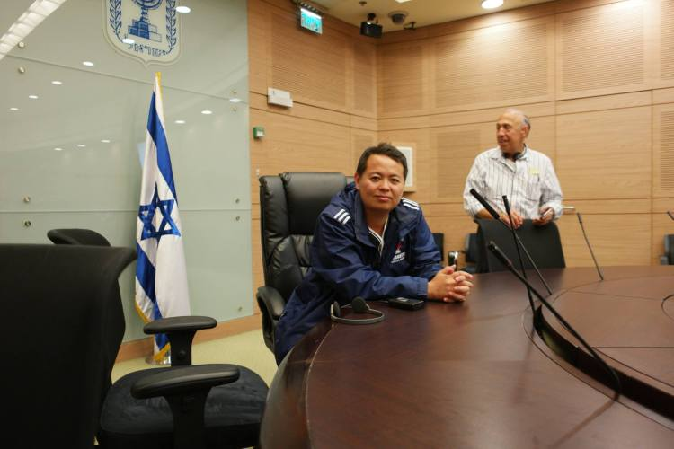 Charles Huang inside the Committee Room of the Knesset