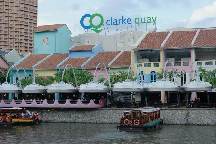 Clarke Quay, situated upstream from the mouth of the Singapore River and Boat Quay