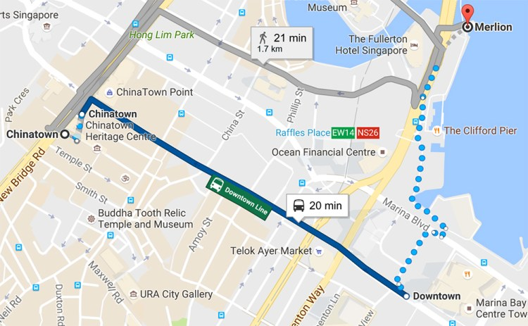 Direction from Chinatown to Merlion
