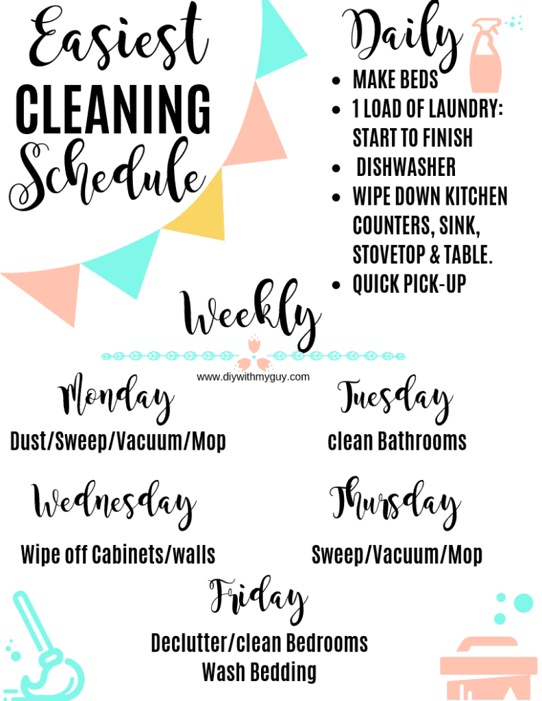 Weekly cleaning schedule Printable Daily cleaning checklist