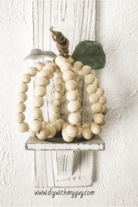 Simple Fall Decor Wood Beaded Farmhouse Pumpkin