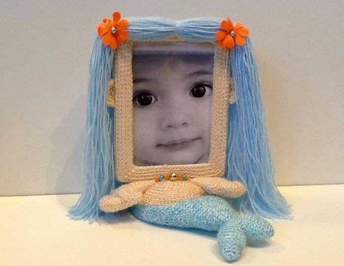 Bingkai untuk fotografi kanak-kanak dalam bentuk ikan duyung