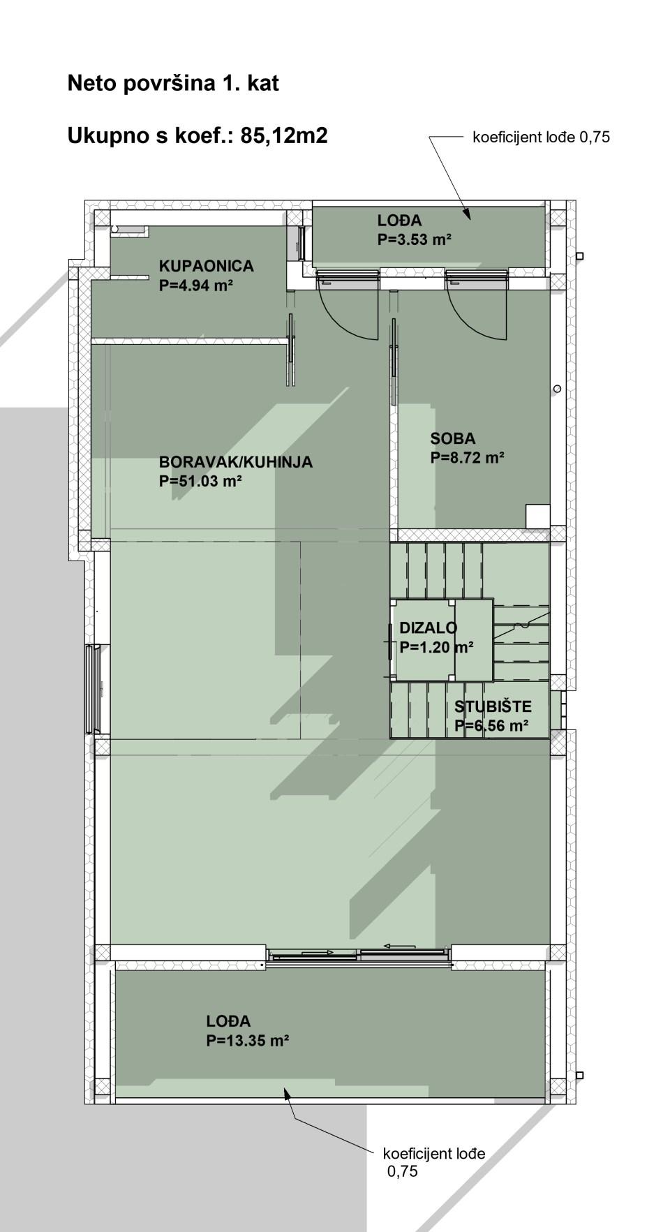 Prikaz tlocrta i neto površina 1. kata obiteljske kuće