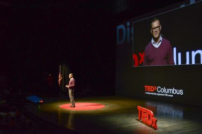 Daron Larson on the TedX Stage