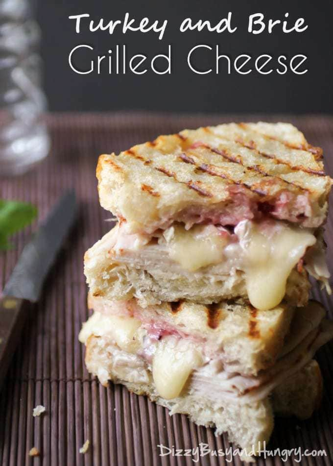 Turkey and Brie Grilled Cheese | DizzyBusyandHungry.com #grilledcheese #turkey #brie