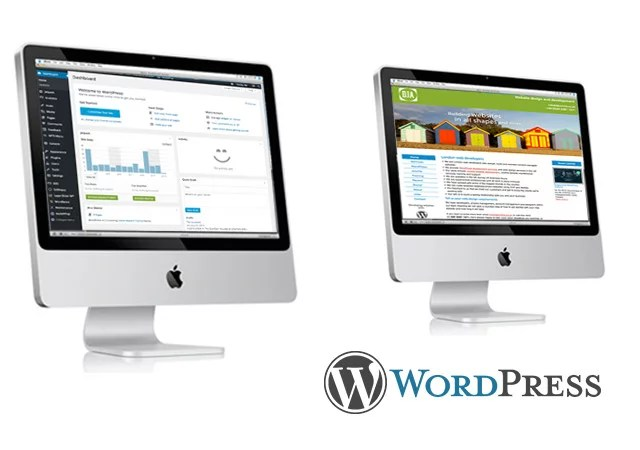 WordPress website and dashboard displayed on computer screen with WordPress logo