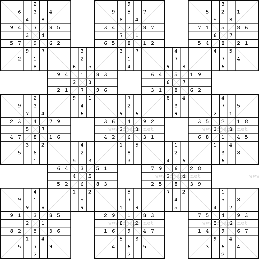 photograph about Printable Sudoku Samurai called Double Harakiri Sudoku X