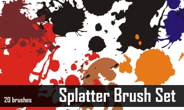 10 Set of Splatter, Spray and Watercolor Free Photoshop Brushes 3