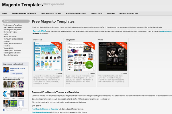 Websites to Download Free Magento Templates 1